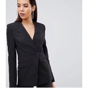 ASOS Tall Pinstripe Blazer in Black